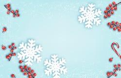 与雪花的抽象假日圣诞节背景 库存例证