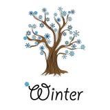 与雪花的抽象冬天树 免版税库存照片