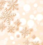 与雪花的抽象圣诞灯背景 库存例证