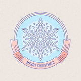 与雪花的新年和圣诞节徽章 库存照片
