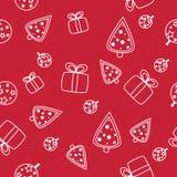 与雪花的无缝的圣诞节样式在红色背景 向量例证