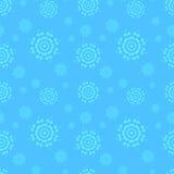 与雪花的无缝的蓝色冬天背景 向量例证