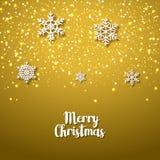 与雪花的欢乐金黄背景 圣诞节寒假的Xmas欢乐季节 周年传染媒介卡片 免版税库存照片