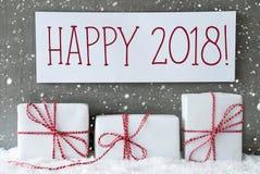 与雪花的白色礼物,发短信给愉快2018年 免版税库存照片