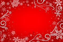 与雪花的红色圣诞节背景 皇族释放例证