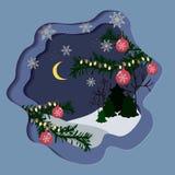 与雪花的美丽的圣诞卡 库存例证