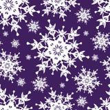 与雪花的美好的深蓝无缝的样式 向量例证