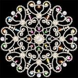 与雪花的背景由宝石和珍珠制成 免版税库存照片