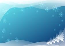 与雪花的蓝色冬天背景 免版税库存照片