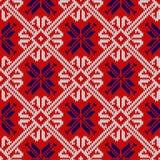 与雪花的被编织的样式在挪威的全国颜色 免版税库存图片