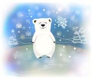 与雪花的逗人喜爱的矮小的极性婴孩熊 圣诞节和新年概念 库存例证