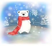 与雪花的逗人喜爱的矮小的极性婴孩熊 圣诞节和新年conceptred围巾和 皇族释放例证