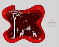 与雪花的鹿家庭在红色纸艺术背景 向量例证