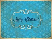 与雪花的年迈的圣诞节葡萄酒框架 免版税库存照片
