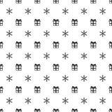 与雪花礼物礼物的圣诞节新年无缝的样式 背景上色节假日红色黄色 Xmas冬天时髦装饰 免版税库存图片