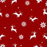 与雪花,圣诞快乐,无缝的样式eleg的驯鹿 皇族释放例证