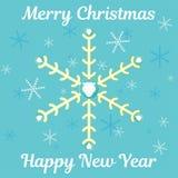 与雪花,圣诞老人胡子和祝愿文本的抽象圣诞卡 库存照片