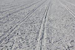 与雪踪影的背景在滑雪30347的 免版税库存照片