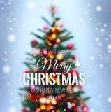 与雪,发火花,发光和文本圣诞快乐和新年快乐的圣诞树背景 xmas 库存图片
