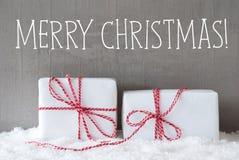 与雪,文本圣诞快乐的两件礼物 免版税库存照片