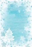 与雪,星a的蓝色或绿松石木圣诞节背景 库存图片