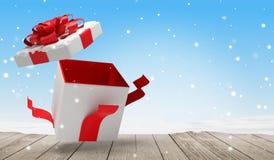 与雪3d例证的开放圣诞节惊奇礼物 皇族释放例证