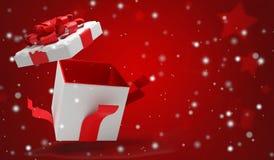 与雪3d例证的开放圣诞节惊奇礼物 库存例证