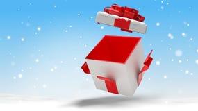 与雪3d例证的开放圣诞节惊奇礼物 向量例证