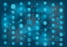 与零的信息技术漂浮背景和的一个代表二进制消息 图库摄影