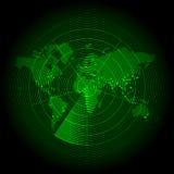 与雷达显示器的绿色世界地图 库存照片