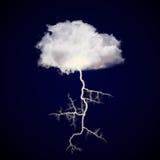 与雷击的云彩 免版税库存照片