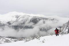 与雾和雪的美好的山景 库存照片