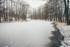 与雾和冻结的河葡萄酒作用的冬天农村场面 免版税库存图片