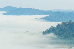 与雾的山云彩 免版税图库摄影