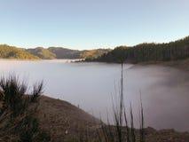 与雾的山在谷 免版税库存图片