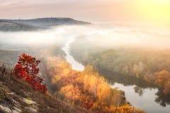 与雾的秋天横向 库存照片