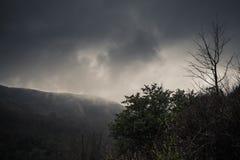 与雾的黑暗的山风景 库存图片