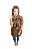 与震动的手指警告姿态的恼怒的秀丽 库存图片