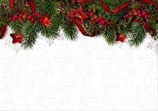 与霍莉、冷杉木和poinsetti边界的圣诞节背景  免版税图库摄影