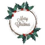 与霍莉和字法文本的圣诞快乐花圈 免版税库存图片