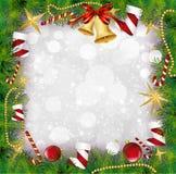 与霍莉装饰的圣诞节框架。传染媒介 向量例证