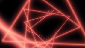 与霓虹三角的抽象背景 3d同心简单的三角隧道的动画 无缝的圈 红色 股票录像