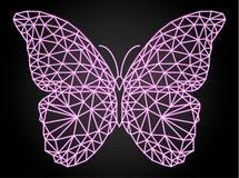 与霓虹传染媒介作用,低多设计的蝴蝶 库存照片