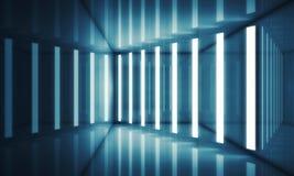 与霓虹灯的抽象蓝色室内部 免版税库存照片