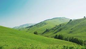 与青山和蓝天的美好的夏天风景 免版税库存照片