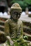 与青苔关闭的石菩萨雕象 免版税库存照片