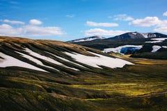 与青苔和雪的风景在冰岛 山旅游业 免版税库存照片