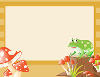 与青蛙和蘑菇的边界模板 向量例证