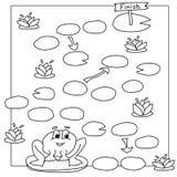 与青蛙的比赛模板 传染媒介孩子的彩图页 向量例证