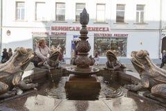 与青蛙雕塑在喀山,俄联盟的水池 库存图片